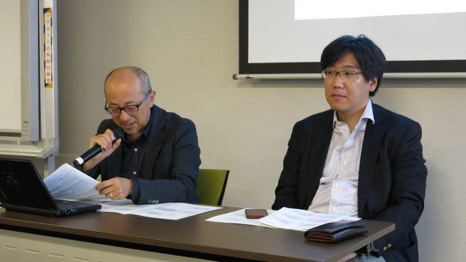 弁護士・福井健策氏(左)と東洋大学准教授・生貝直人氏(右)